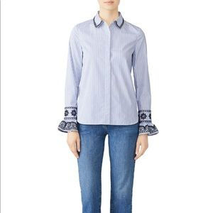 Tory Burch detailed sleeve striped Paige shirt